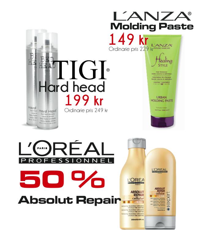 Erbjudanden från L'Oréal, Tigi och Lanza.